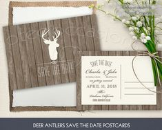 Rustic deer antler postcard or card style save the date postcards. Save the date for your wedding with this fun and rustic save the date card. The wedding save the date announcement (a 4 x 6 postcard or a 5 x 7 card style) has a barn wood background, trendy deer head and antlers and fun fonts and stylings. These save the date postcards look great for your rustic wedding!  NotedOccasions on Etsy