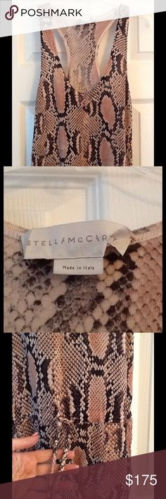 STELLA MCCARTNEY PINK PYTHON JUMPSUIT sz 36, NWOT NWOT Stella McCartney Italy sz 36 amazing pink Python drawstring cotton jumpsuit.  Tapered at ankle.  New Without Tags. Really amazing!  Will ship right away.  Check out my other designer items Stella McCartney Dresses