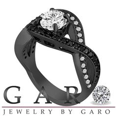 White and Fancy Black Diamonds Engagement Ring 1.52 Carat 14k Black Gold Vintage Style Unique Halo Pave Handmade Certified