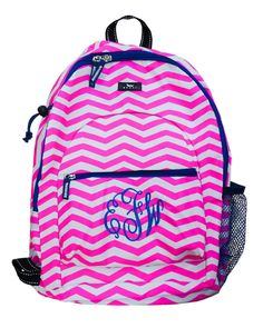Monogrammed sports backpack in Real Slim Chevy print.  Designed to hold lacrosse and field hockey sticks.