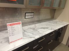 This is a new LAMINATE countertop at Home Depot made to look like Carrera and it does!! $300