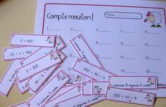 CE1 - compte mouton ! jeu : lecture de nombres décomposés du type: 200+10+7 ou 2 centaines 10 diz 7 unités Math School, School Fun, French Kids, Montessori Math, Primary Maths, Math Addition, 2nd Grade Math, Grade 2, Math Numbers