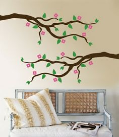 Pink Cherry Blossom Branch Floral and Botanical Wall Decals