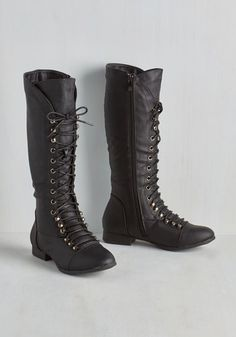 You Lead the Way Boot. Go for these cool calf-high boots, and youll be as comfortable along the state park footpaths as you are among the boutique racks! #black #modcloth