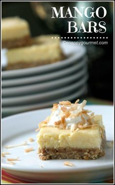 Mango Bars Recipe - easy dessert with mango lime filling and coconut graham cracker crust! snappygourmet.com