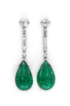 A Pair of Art Deco Emerald and Diamond Ear Pendants, by Cartier, circa 1925. Available at FD Gallery. www.fd-inspired.com