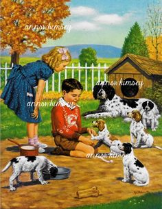 "Antique Art Restored ""Puppies and Children, Perfection""  #496"