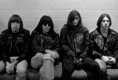 American rock band The Ramones posed backstage in The Netherlands in 1990 Left to right Johnny Ramone Marky Ramone Joey Ramone and CJ Ramone