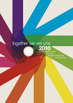 https://flic.kr/p/7LSpxF | together we are one | I just entered the Culture Counts: UNESCO poster competition. The idea behind the competition is to promote better communication and understanding between all peoples and cultures by designing the poster for 2010, International Year for the Rapprochement of Cultures. This was a non-paid self assignment for me to explore and create. I really enjoyed allowing myself to freely explore the themes. I entered two posters, one with two color…