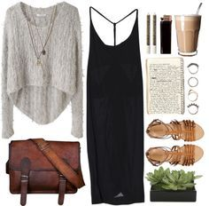 Black Kozue dress + Helmut Lang Angora Floats Pullover + J.Crew Milano leather gladiator sandals + Leather Messenger Bag Shoulder Bag + Topshop Skull Multirow Necklace