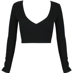 Black Plunge Neck Long Sleeve Wrap Crop Top (€20) ❤ liked on Polyvore featuring tops, shirts, crop tops, crop, long sleeve shirts, shirt top, plunge-neck tops, cut-out crop tops and wrap crop top