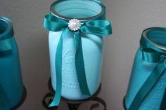 Painted mason jars Tiffany Blue wedding by Juliescottagecrafts, $21.00