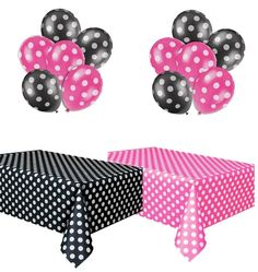 Polka Dot Party Set, Includes 1 Hot Pink Tablecloth, 1 Black Tablecloth, 6 Hot Pink Balloons And 6 Black Balloons photo ideas from Amazing Party Decoration Ideas Mickey Mouse Baby Shower, Minnie Mouse 1st Birthday, Minnie Mouse Pink, Baby Mouse, 2nd Birthday, Mini Mouse, Birthday Ideas, Polka Dot Balloons, Black Balloons