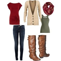 Love these fall colors... not crazy about the fit of the jeans, but the rest is great!