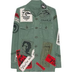 MadeWorn Stones Exile On Main St Army // Denim jacket with band... ($1,065) ❤ liked on Polyvore featuring outerwear, jackets, jean jackets, army jacket, green jean jacket, straight jacket and rock and roll jacket
