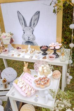 Dessert tables from a Countryside Bunny Party via Kara's Party Ideas | KarasPartyIdeas.com (18)