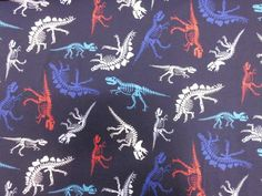 Jersey+cotton+colorful+dinosaurs+on+blue+from+Stoff-Kotten+by+DaWanda.com
