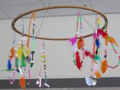 * Indianenketting! De ketting is gemaakt van rietjes, kralen, touw en veren. Van witte klei hebben de kinderen witte tanden gemaakt van een bizon.     kleuteridee.nl