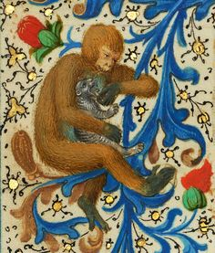 monkey and cat  'Gillion de Trazegnies', Flanders after 1464 (Los Angeles, Getty, Ms. 111, fol. 134