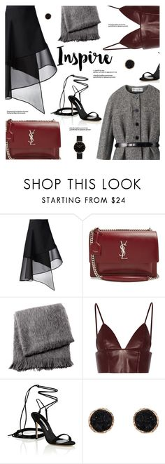 """Date Night - Oxblood"" by jiabao-krohn ❤ liked on Polyvore featuring David Koma, Yves Saint Laurent, From the Road, T By Alexander Wang, Manolo Blahnik, Humble Chic and CLUSE"