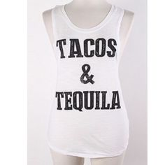 """Tacos and Tequila tank Tacos/ tequila S: L: 24"""" B: 34"""" M: L: 25"""" B: 36"""" L: L: 26""""  B: 38"""" Cotton/ polyester combination. NWOT. Brand new without tags. Very lightweight and EXTREMELY stretchy! Semi sheer. Shirt in photos is size M.  Availability: S•M•L • 2•2•1 PLEASE do not purchase this listing. Price is firm unless bundled. No trades Boutique Tops Tank Tops"""