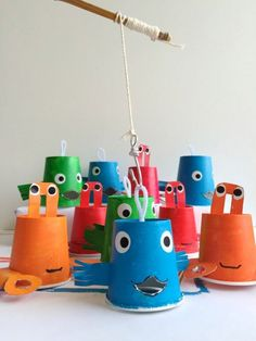 Reel In The Fun With A DIY Paper Cup Fishing Game, #cup #DIY #fishing #Fun #Game #paper #Reel Craft Activities, Toddler Activities, Indoor Activities, Kids Crafts, Easy Crafts, Easy Diy, Fun Diy, Preschool Crafts, Paper Cup Crafts