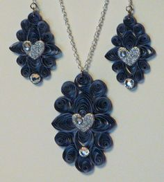Denim and Bling Jewelry  Looks like quilling with denim---possibilities are endless--db