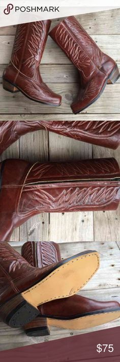 Vintage Men's Brown Cowboy Boots Zip Size 9 Brand is GI Shoe Shop. Size 9. Unknown if it's genuine leather but they feel like they are. Very good condition. GI Shoe Shop Shoes