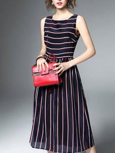 #AdoreWe #StyleWe Dresses - ELENYUN Multicolor Sleeveless A-line Printed Midi Dress - AdoreWe.net