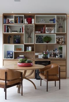 Library with minibar. Muebles Living, Book Racks, Bookcase Shelves, Cd Shelving, Home Interior, Interiores Design, Home Office, Living Room Decor, Furniture Design