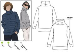 Brooklyn Knit Top Sewing Pattern By Style Arc - Cozy big roll neck sweater type top with extended shoulders, pockets and bands | Looks quite oversized , yet comfy