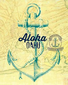 Pearl Harbor Map Oahu Hawaii  Nautical Anchor Wall Decor Choose Lustre Print, Canvas or Bamboo Mount by BrandiFitzgerald on Etsy https://www.etsy.com/listing/184038527/pearl-harbor-map-oahu-hawaii-nautical
