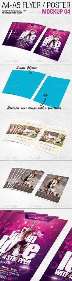 A4 - A5 Flyer Mockup 04 #GraphicRiver A4 – A5 Flyer Mockup 04 is an awesome file that use smart-objects and all the layers are organized and renamed, enjoy this new mockup and show your customers and great designs in a stunning and realistic way Features Mockups Size: 1920px x 1280px Fully editable + Full layered Photoshop Version: CS4 or Higher High Resolution 300dpi RGB Colors Source & Credits Flyer Design: EAMejia Background pattern: Subtle Patterns Created: 25June12…