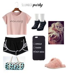 """""""Sleepover ❤️"""" by hallie-bray on Polyvore featuring adidas, Ted Baker and slumberparty"""