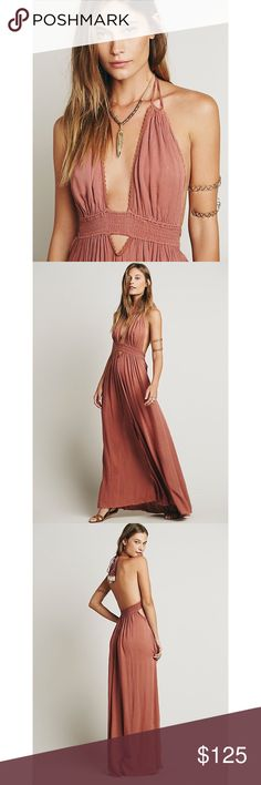 FREE PEOPLE look into the sun maxi dress ✨ NWOT. Size small. Sunset pink. No trades sorry! Runs true to size. Free People Dresses Maxi