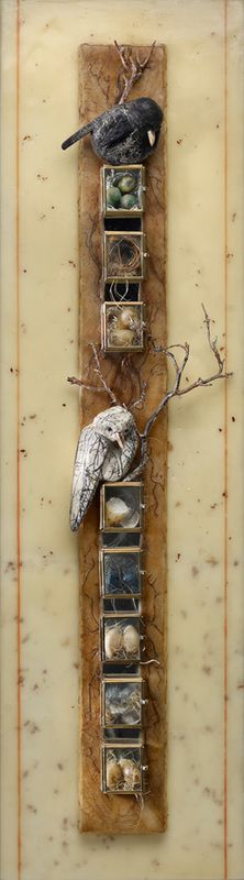 "*I would like to replicate little boxes like windows or boxed in micro visions of life*.""High Rise Condos"" Mixed Media, Glass Boxes, Wax Carved Eggs by Diane Kleiss Found Object Art, Found Art, Mixed Media Collage, Collage Art, Creation Art, Mixed Media Sculpture, Wax Carving, Encaustic Art, Assemblage Art"