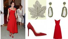 Kate Middleton wearing Queen Elizabeth's Maple Leaf Brooch, Gianvito Rossi Suede Pumps, Soru Jewellery Baroque Pearl Double Sided Earrings, Preen by Thornton Bregazzi Finella Midi Dress and Jenny Packham Casa Pony Clutch Canadian First Nations September 26 2016 http://www.starstyle.com/kate-middleton-canadian-first-nations-sp265735/