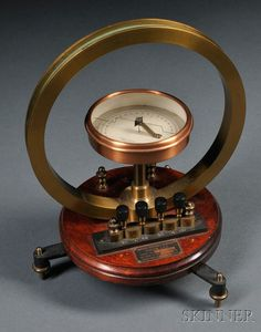 Tangent Galvanometer by the Central Scientific Com  Tangent Galvanometer by the Central Scientific Company, Chicago, Illinois, 8 3/4-in. brass ring, copper-bezel indicator with paper dial divided into four quadrants marked 0-90, four brass and Bakelite binding posts connected to concentric insulated coils with indicator marks on bed 20-40-80-160, all mounted on a wood base with adjustable tripod base, ht. 11 1/2 in.
