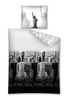 Pościel dla dzieci w kolorze czarno szarym z Nowym Yorkiem