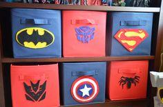 Target bins with DIY felt superhero symbols - Simply Stavish