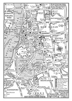 1949 Vintage Map of Downtown Calcutta