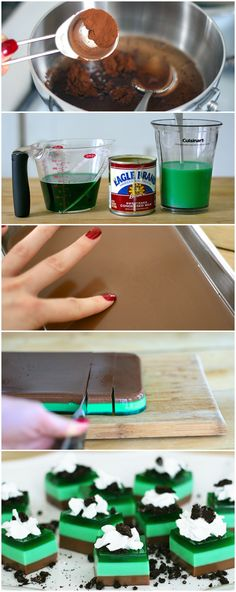 Thin Mint Jello Shots : Fans of Thin Mint cookies will love these Jello shots! These Thin Mint Jelly Shots take the classic cookie and give it a fun boozy twist. Fun Drinks, Yummy Drinks, Delicious Desserts, Yummy Food, Jello Shot Recipes, Dessert Recipes, Salad Recipes, Jello Pudding Shots, Mint Jelly