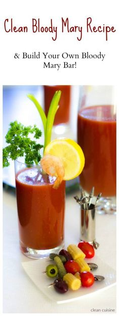 Not just for brunch, Bloody Mary's can work for many occasions. Here's how to make a Clean Bloody Mary Mix Recipe and a Build Your Own Bloody Mary Bar. Real Bloody Mary, Bloody Mary Mix, Healthy Summer Recipes, Clean Eating Recipes, Blody Mary Recipe, Cocktails, Drinks, Cocktail Parties, Beverages