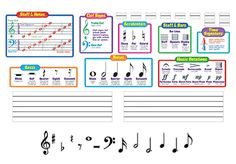"""MUSIC SYMBOLS Bulletin Board Kit Plus ADD-ON SYMBOLS-Kit includes 8 theory chars, 2 wipe-off staffs (25"""") and reproducible theory guide, plus set of 198 add-on symcols--clefs, notes, rest, sharps, flats."""