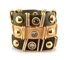 [바보사랑] 오늘은 볼드하게! /가죽/팔찌/골드/글라스/장식/주얼리/패션주얼리/Leather/Bracelet/gold/Glass/Decor/Jewelry