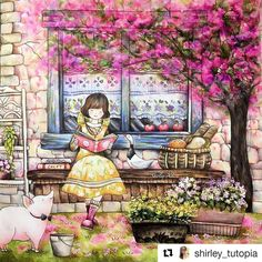 Gorgeous! #Repost @shirley_tutopia (@get_repost) 🌸🌸🌸Finished💪🏻The reading girl under the floweing tree🌸New video is uploaded 😉... #romanticcountry #prismacolorpremier #romanticcountry3 #eriy #coloringbook #coloring #coloriage #colouringforadults #prismacolor #coloredpencils #adultcoloring #shirleytutopia #coloringtutorial #塗り絵の本 #大人の塗リ絵 #著色本 #Målarbok #Malbuch
