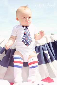 For 1st Birthday!   Baby Boy Leg Warmers AND Patriotic Tie Onesie for the 4th of July, Memorial Day, Summer,  and Independence Day 2012.  Bodysuit.. $26.95, via Etsy.