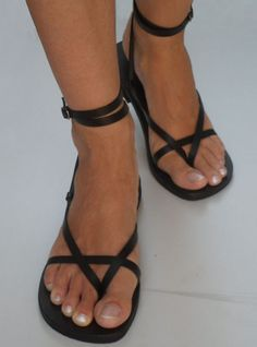 Ankle Strap Leather Sandals  Sunshine by Calpas on Etsy