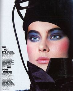 makeup: blue eyeshadow and pink cheeks 80s Makeup Looks, 1980s Makeup, Makeup Ads, Retro Makeup, Vintage Makeup, Vintage Beauty, Makeup Cosmetics, Eye Makeup, Hair Makeup