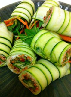 I like the idea of slicing cucumbers and making cucumber wrap/rolls.....Crab and avocado filling yummy